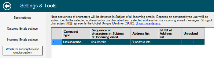 Unsubscribtion of recipient by word in subject