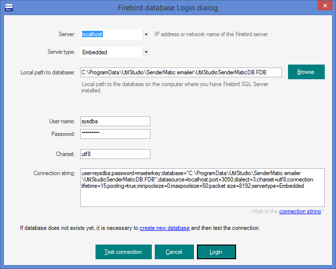SenderMatic emailer - Firebird connection settings